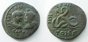 Monede cu sarpele Glycon, batute in Tomis