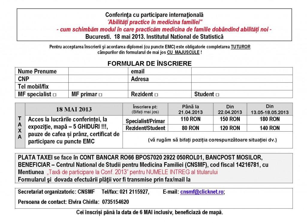 Talon inscriere Conferinta CNSMF 18 MAI 2013