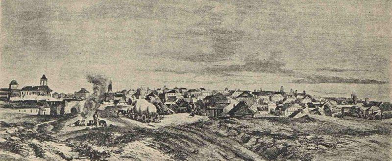 Bucurestii vazuti inspre Curtea Arsa, dupa Bouquet - 1840